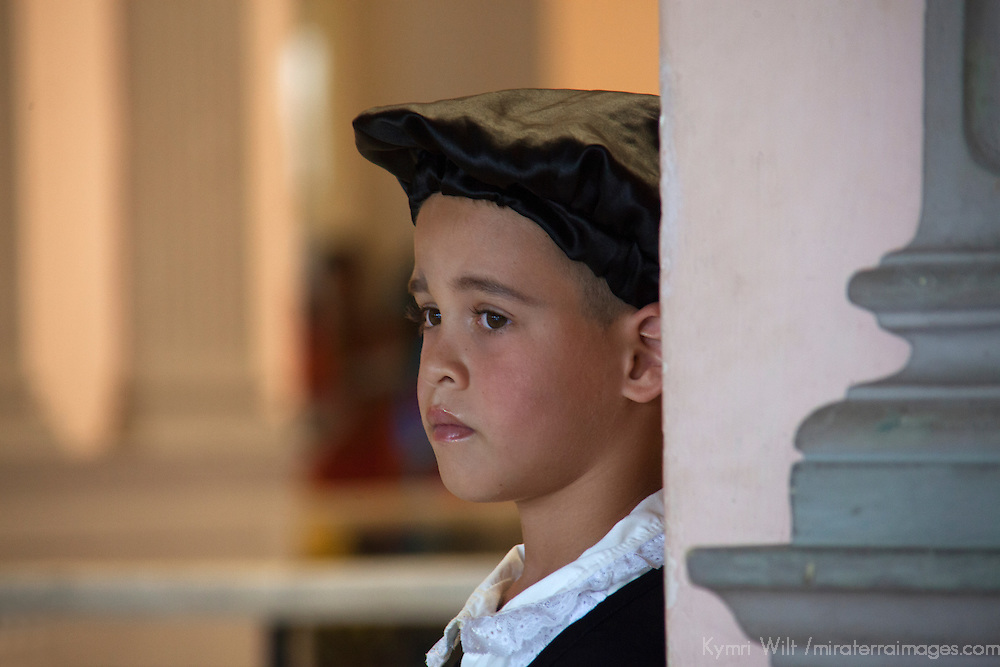 Central America, Cuba, Santa Clara. Young Cuban actor in costume.