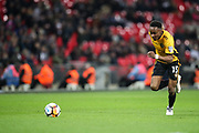 Shawn McCoulsky of Newport County chases the ball during the The FA Cup fourth round replay match between Tottenham Hotspur and Newport County at Wembley Stadium, London, England on 6 February 2018. Picture by Toyin Oshodi.