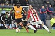 Hull City striker Adama Diomande (25)  during the Sky Bet Championship match between Hull City and Brentford at the KC Stadium, Kingston upon Hull, England on 26 April 2016. Photo by Ian Lyall.