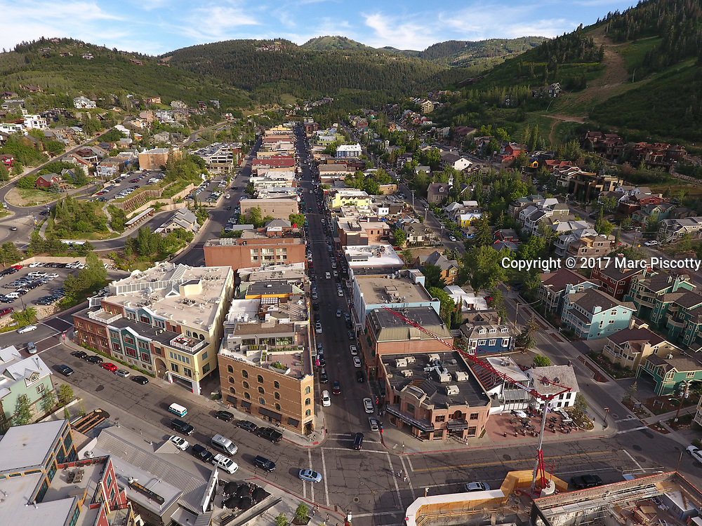 SHOT 7/1/17 6:58:52 PM - Drone photos of Park City, Utah. Park City lies east of Salt Lake City in the western state of Utah. Framed by the craggy Wasatch Range, it's bordered by the Deer Valley Resort and the huge Park City Mountain Resort, both known for their ski slopes. Utah Olympic Park, to the north, hosted the 2002 Winter Olympics and is now predominantly a training facility. In town, Main Street is lined with buildings built during a 19th-century silver mining boom. (Photo by Marc Piscotty / © 2017)