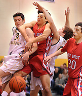 NEW HOPE, PA. - JANUARY 23: New Hope Solebury's Max Wagner #34 battles for a rebound with Holy Ghost Prep's Joe Braun (C), New Hope Solebury's Connor Smith (2nd from right) and Holy Ghost Prep's Tim Brennan #20 in the first quarter at New Hope Solebury High School January 23, 2015 in New Hope, Pennsylvania. (Photo by William Thomas Cain/Cain Images)