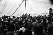 Crowd in a Hip Hop tent at the Moss Side Carnival, Alexandra Park, Manchester 1989