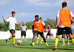 Aston Villa's Micah Richards chases the ball in training  - Photo mandatory by-line: Joe Meredith/JMP - Mobile: 07966 386802 - 17/07/2015 - SPORT - Football - Albufeira - Estadio Da Nora - Pre-Season Friendly