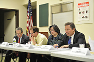 After Nassau County Coalition of Civic Associations installs Board Directors, on Tuesday, April 17, 2012, at Lido Beach, New York, USA, the County's proposal to lease sewage treatment plants, and legislature redistricting, are among concerns discussed. The non-partisan group believes transparency and public oversight are necessary to protect residents. Executive Directors to the Board present were these civic leaders: George Pombar of Glen Head, Phil Healey; Patrice Benneward of Glenwood Landing, Raymond Pagano of Oceanside, Claudia Borecky of North Merrick, Phil Franco of Seaford, and Greg Naham of Lido Beach.