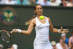 LONDON, ENGLAND - Monday, June 23, 2008: Rossana De Los Rios (PAR) in action during her first round match on day one of the Wimbledon Lawn Tennis Championships at the All England Lawn Tennis and Croquet Club. (Photo by David Rawcliffe/Propaganda)