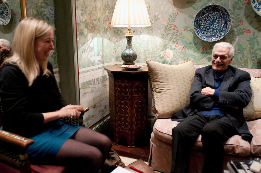 Omar Sharif being interviewed by Rachel Halliburton of the Independent on Sunday at the hotel where he lives in Paris. Fifty years after the making of David Lean's epic film Lawrence of Arabia in which the 80 year old actor starred, the 1962 film has been painstakingly restored and will be released on Blu-Ray DVD in November 2012.<br />
