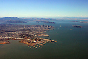San Francisco, California, from a jet taking off from SFO.