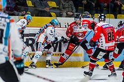 01.01.2020, Ice Rink, Znojmo, CZE, EBEL, HC Orli Znojmo vs EHC Liwest Black Wings Linz, 34. Runde, im Bild v.l. Valentin Leiler (EHC Liwest Black Wings Linz) Alexander Cijan (EHC Liwest Black Wings Linz) Adam Sedlak (HC Orli Znojmo) Anthony Luciani (HC Orli Znojmo) // during the Erste Bank Eishockey League 34th round match between HC Orli Znojmo and EHC Liwest Black Wings Linz at the Ice Rink in Znojmo, Czechia on 2020/01/01. EXPA Pictures © 2019, PhotoCredit: EXPA/ Rostislav Pfeffer