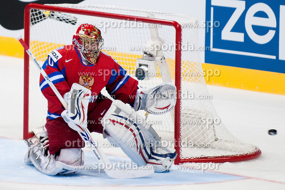 Yevgeni Nabokov of Russia with a huge save during ice-hockey match between Russia and Slovenia of Group A of IIHF 2011 World Championship Slovakia, on May 1, 2011 in Orange Arena, Bratislava, Slovakia. (Photo by Matic Klansek Velej / Sportida)