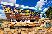 Welcome sign at the Anasazi Heritage Center - Canyons of the Ancients National Monument, Colorado USA
