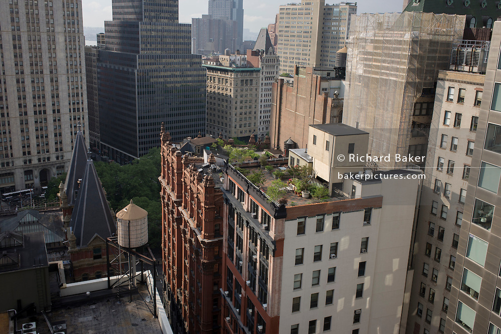 Rooftop gardens overlooking Broadway, Manhattan, New York City.