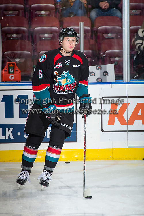 KELOWNA, CANADA - OCTOBER 4: Kaedan Korczak #6 of the Kelowna Rockets warms up against the Victoria Royals on October 4, 2017 at Prospera Place in Kelowna, British Columbia, Canada.  (Photo by Marissa Baecker/Shoot the Breeze)  *** Local Caption ***