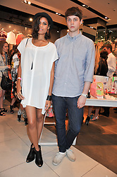 Singer ALUNA FRANCIS and GEORGE REID at a party to celebrate the launch of Louise Gray's make-up and clothing collections for Topshop held at Topshop Edited, 286 Regent Street, London on 22nd August 2012.