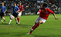 Photo: Paul Thomas.<br /> Estonia v England. UEFA European Championships Qualifying, Group E. 06/06/2007.<br /> <br /> Michael Owen of England scores.