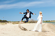 Wedding, Bride, Bridegroom, Jumping, Excitement, Fun, Happiness, Beach,  Love, Romance,