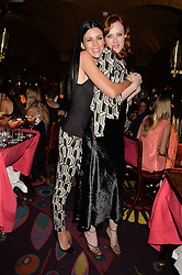 Left to right, LIBERTY ROSS and KAREN ELSON at a dinner to celebrate the launch of Genetic - Liberty Ross hosted by Liberty Ross and Ali Fatourechi at Annabel's, 44 Berkeley Square, London on 3rd September 2014.