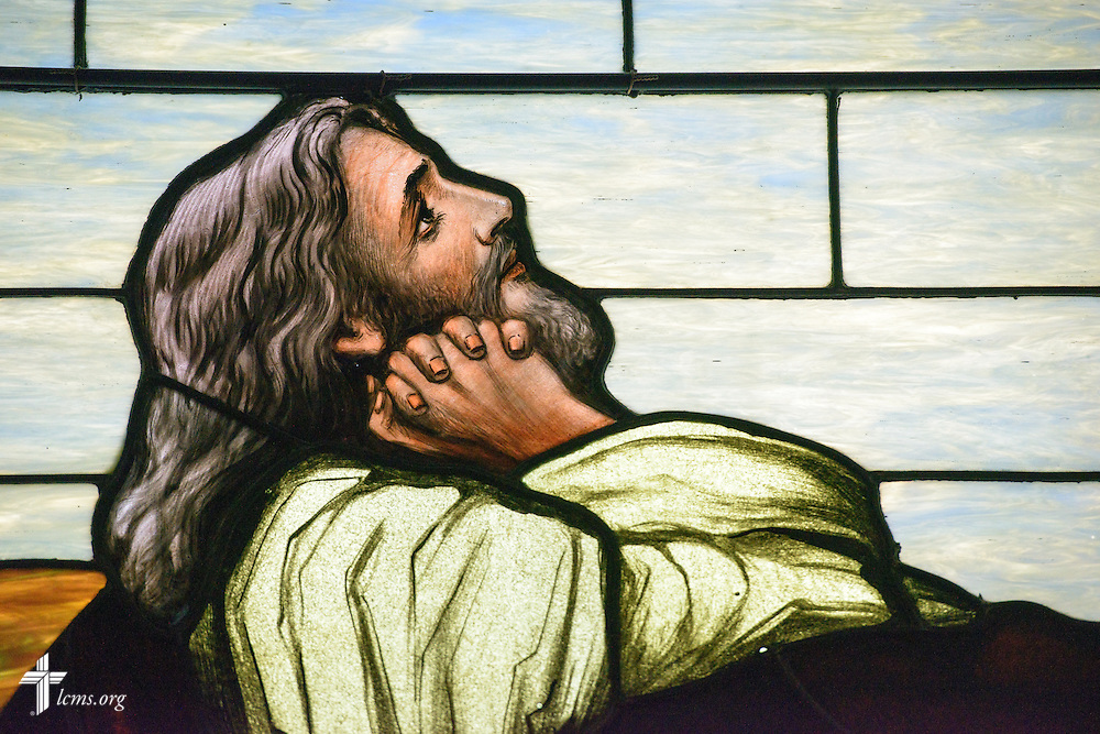 Stained glass depicting Jesus Christ praying Thursday, Oct. 27, 2016, at First Immanuel Lutheran School in Cedarburg, Wis. LCMS Communications/Erik M. Lunsford