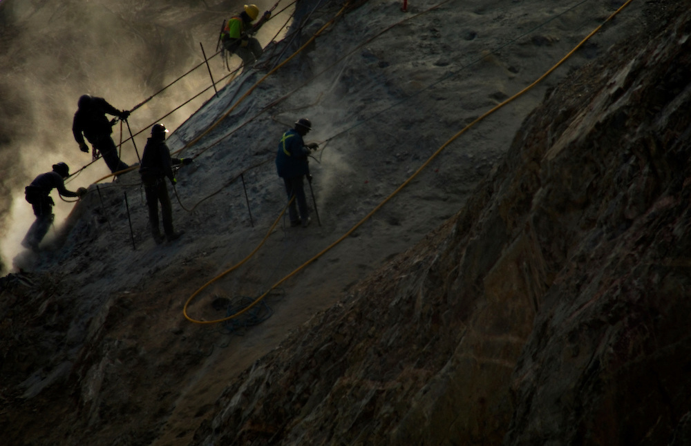 Kelowna, BC - 06/03/09 -  Workers prepare to blast rock for the expansion of Highway 97 near Summerland, British Columbia.  Photo by Daniel Hayduk