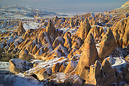 Goreme, Cappadocia, Nevsehir, Turkey, winter 2005. The Valleys of the Goreme National Park offer some very good snow shoeing. Many people who visit in the summer do not realize that temperatures in winter can go as low as minus 25 celcius, with a meter of snow on the ground.Photo by Frits Meyst/Adventure4ever.com