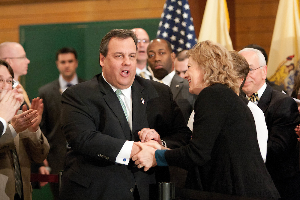 New Jersey Governor Chris Christie hosts a town hall meeting at the John Paul II Center in West Deptford NJ. The town hall meeting is Christie's first since the proposed 2012 state budget was released.