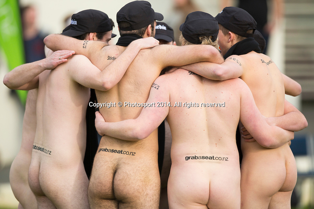 Action during the nude rugby match between the Nude Blacks and the English side at the University Oval as the curtain raiser for the Steinlager Series between the All Blacks and England at Forsyth Barr Stadium, Dunedin, 14 June 2014. Photo: Derek Morrison/www.photosport.co.nz