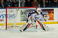 KELOWNA, CANADA - DECEMBER 5: Talyn Boyko #31 of the Tri-City Americans defends the net during the shoot out against the Kelowna Rockets  on December 5, 2018 at Prospera Place in Kelowna, British Columbia, Canada.  (Photo by Marissa Baecker/Shoot the Breeze)