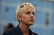 """Ellen DeGeneres  on a walking tour led by Brad Pitt throught the """" Make it Right """" houses in New Orleans Lower 9th Ward the day before a star-studded gala being held in New Orleans."""