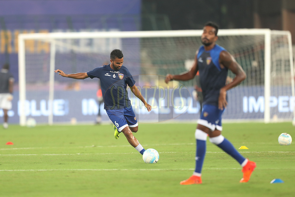 Players of Chennaiyin FC warming up during match 6 of the Hero Indian Super League between Chennaiyin FC and NorthEast United FC held at the Jawaharlal Nehru Stadium, Chennai India on the 23rd November 2017<br /> <br /> Photo by: Suman Dasgupta  / ISL / SPORTZPICS