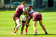 Bradford Bulls winger Iliness Macani (5) is stopped during the Kingstone Press Championship match between Batley Bulldogs and Bradford Bulls at the Fox's Biscuits Stadium, Batley, United Kingdom on 16 July 2017. Photo by Simon Davies.