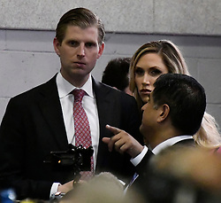 Oct 19, 2016. Las Vegas NV.  (L) Eric Trump gets ready to talk to the press after the debate Wednesday. Today will be the 3rd and final presidential debate between Republican presidential nominee Donald Trump and Democratic presidential nominee Hillary Clinton at Las Vegas Nevada University. .Photo by Gene BlevinsZumaPress (Credit Image: © Gene Blevins via ZUMA Wire)