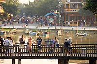 Looking from the Japanese Covered bridge towards Bach Dang Street and the Thu Bon river in Hoi An, Vietnam