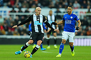 Jonjo Shelvey (#8) of Newcastle United in action during the Premier League match between Newcastle United and Leicester City at St. James's Park, Newcastle, England on 1 January 2020.