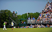 Zach Johnson acknowledges the crowd after making his birdie putt on the eleventh hole during the third round of The Barclays Championship held at Plainfield Country Club in Edison, New Jersey on August 29.