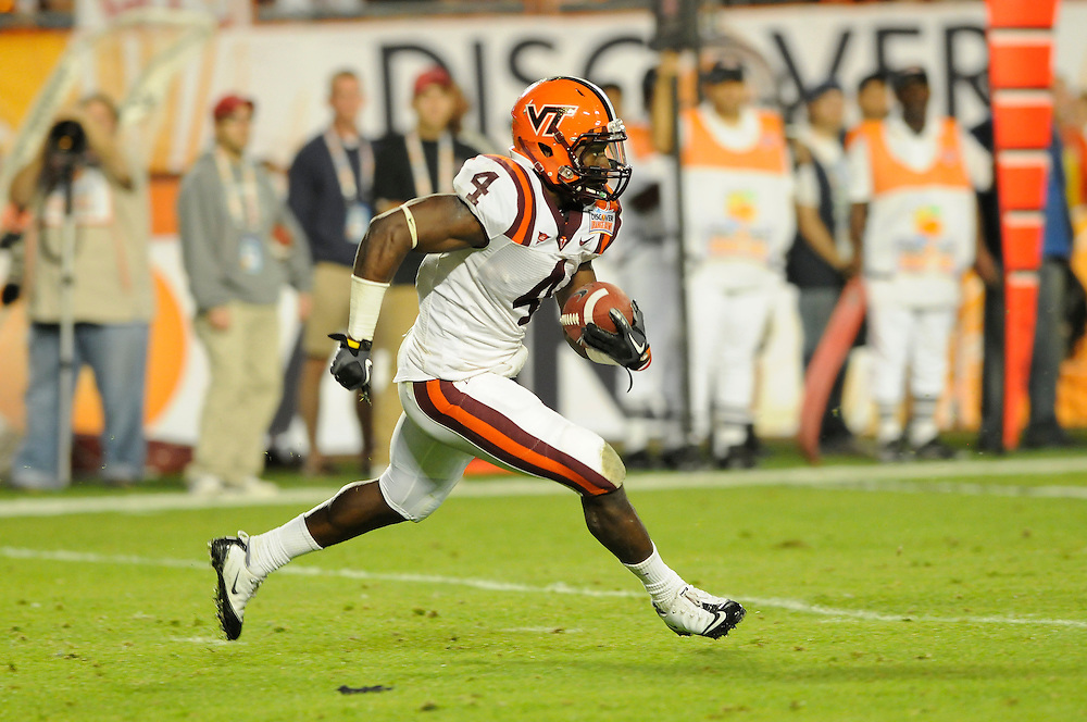 January 3, 2011: David Wilson of the Virginia Tech Hokies in action during the NCAA football game between the Stanford Cardinal and the Virginia Tech Hokies at the 2011 Orange Bowl in Miami Gardens, Florida. Stanford defeated Virginia Tech 40-12.