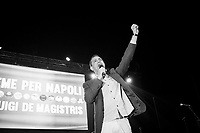 NAPLES, ITALY - 7 MAY 2016: presentation of the coalition of lists supporting Luigi De Magistris, running for re-election in the 2016 city elections, on Labor Day in the historical center of Naples, Italy, on May 1st 2016