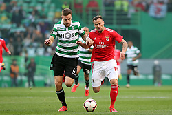 February 3, 2019 - Lisbon, Portugal - Benfica's Suisse forward Haris Seferovic (R ) vies with Sporting's defender Sebastian Coates from Uruguay during the Portuguese League football match Sporting CP vs SL Benfica at Alvalade stadium in Lisbon, Portugal on February 3, 2019. (Credit Image: © Pedro Fiuza/NurPhoto via ZUMA Press)