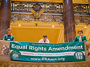 05 MARCH 2020 - ST. PAUL, MINNESOTA: in the rotunda at the Minnesota State Capitol. About 75 people, mostly women, came to the capitol to support International Women's Day and the Equal Rights Amendment. International Women's Day is celebrated on March 8 around the world.     PHOTO BY JACK KURTZ