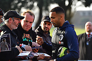 Callum Wilson (13) of AFC Bournemouth signing autographs on arrival at the Vitality Stadium before the Premier League match between Bournemouth and Arsenal at the Vitality Stadium, Bournemouth, England on 25 November 2018.
