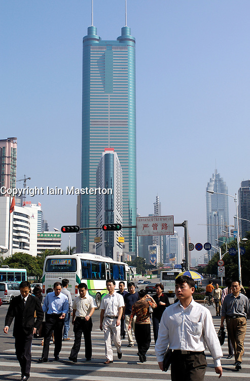 Busy street and skyscrpaer in central Shenzhen in Guangdong Province in southern China