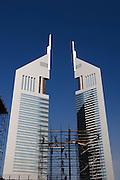 United Arab Emirates: Dubai.Scaffolders prepare at the Financial Centre next to Emirates Towers