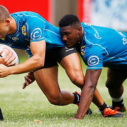 Jeremy Ward of the Cell C Sharks tackled by Celimphilo Gumede of the Cell C Sharks during The Cell C Sharks training session 3rd December 2019 at Jonsson Kings Park Stadium in Durban, South Africa. (Photo by Steve Haag)<br /> <br /> images for social media must have consent from Steve Haag