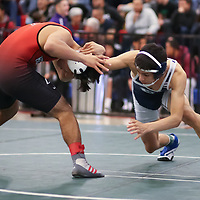 Nick Melendez of Branham (right) in the 2018 CCS Wrestling Championships (Photo by Bill Gerth)