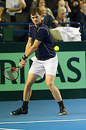 Jamie Murray pictured in action during the round three singles match on second day of the Davis Cup by BNP Paribas match between Great Britain and Japan at the National Indoor Arena, Birmingham, England.<br /> Picture by Anthony Stanley/Focus Images Ltd 07833 396363<br /> 05/03/2016
