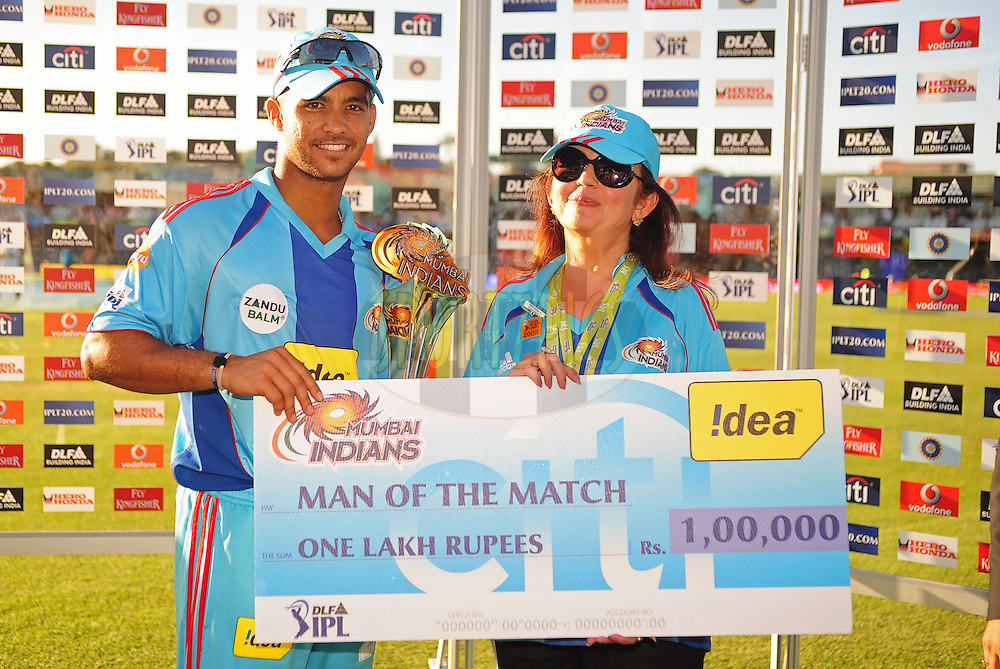 EAST LONDON, SOUTH AFRICA - 1 May 2009.  Man of the match, J P Duminy during the  IPL Season 2 match between the Mumbai Indians and the Kolkata Knight Riders held at Buffalo Park in East London. South Africa...