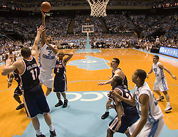 UNC's Wayne Ellington (2) puts up a shot against Virginia.  The #1 ranked Tar Heels beat the Cavaliers 79-69 to improved to 15-1 overall, 2-0 ACC on January 10, 2007 at the Dean Smith Center in Chapel Hill, NC.<br />
