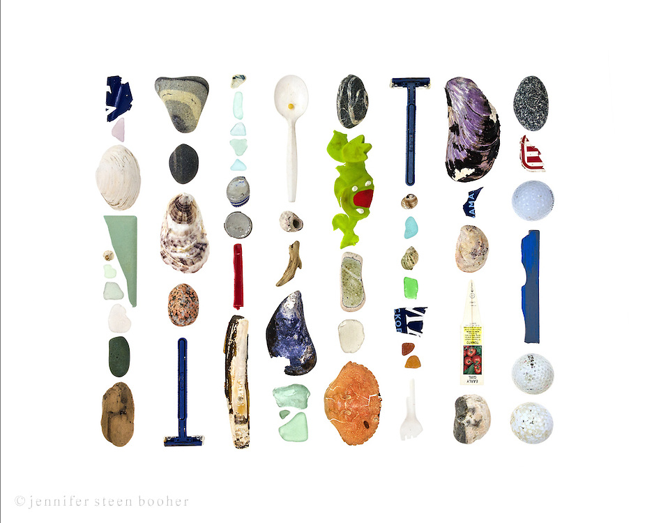 Top to bottom, left to right: fragment of Obama bumper sticker, sea glass, soft shell clam (Mya arenaria), plastic fragment, Northern Rock Barnacle (Semibalanus balanoides), sea glass, beach stone (diorite?), driftwood, beach stones, oyster, granite beach stone, disposable razor, beach china, sea glass, 2 bottle tops, plastic fragment, razor clam (Ensis directus), plastic spoon holding plastic bead, Common Periwinkle (Littorina littorea), driftwood, blue mussel (Mytilus edulis), sea glass, beach stone, remains of plastic chew toy, beach china, sea glass, Rock Crab (Cancer irroratus), disposable razor, Common Periwinkle, sea glass, Dog whelk (Nucella lapillus), sea glass, Obama bumper sticker, sea glass, plastic fork, horse mussel (Modiolus modiolus), Obama bumper sticker, Common Slipper Shell (Crepidula fornicata), plastic plant tag, beach stone, beach stone, piece of a plastic sticker, golf ball, plastic fragment, golf balls.