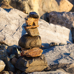 A rock cairn at Great Island Common in New Castle, New Hampshie.