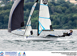 Aarhus, Denmark is hosting the 2018 Hempel Sailing World Championships from 30 July to 12 August 2018. More than 1,400 sailors from 85 nations are racing across ten Olympic sailing disciplines as well as Men's and Women's Kiteboarding. <br /> 40% of Tokyo 2020 Olympic Sailing Competition places will be awarded in Aarhus as well as 12 World Championship medals. ©PEDRO MARTINEZ/SAILING ENERGY/AARHUS 2018<br /> 05 August, 2018.