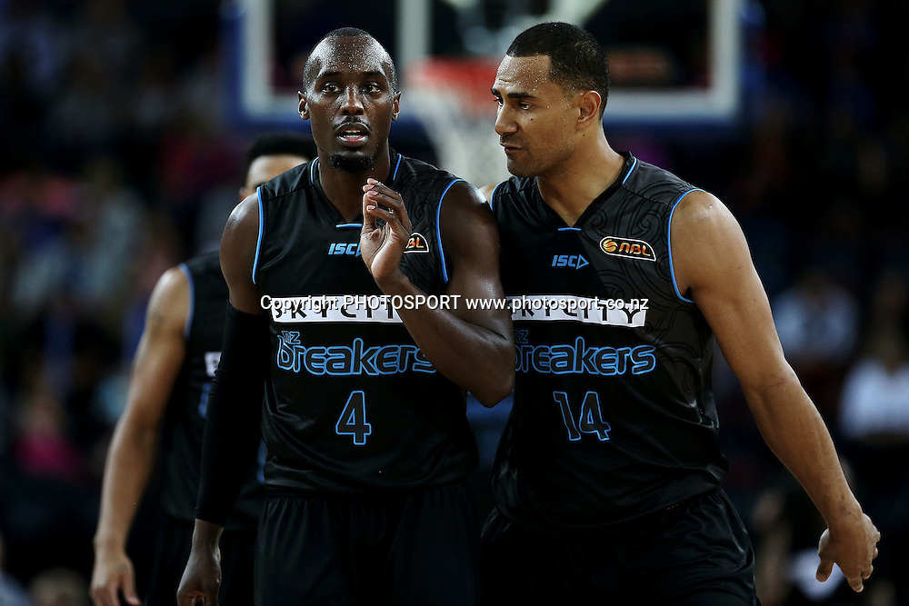 Cedric Jackson and Mika Vukona of the Breakers. 2014/15 ANBL, SkyCity Breakers vs Melbourne United, Vector Arena, Auckland, New Zealand. Friday 21 November 2014. Photo: Anthony Au-Yeung / photosport.co.nz