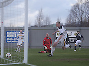 Peter MacDonald scores Dundee's winner - Dumbarton v Dundee  - SPFL Championship at the Bet Butler Stadium<br /> <br />  - &copy; David Young - www.davidyoungphoto.co.uk - email: davidyoungphoto@gmail.com